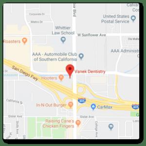 map showing location of vanek dentistry